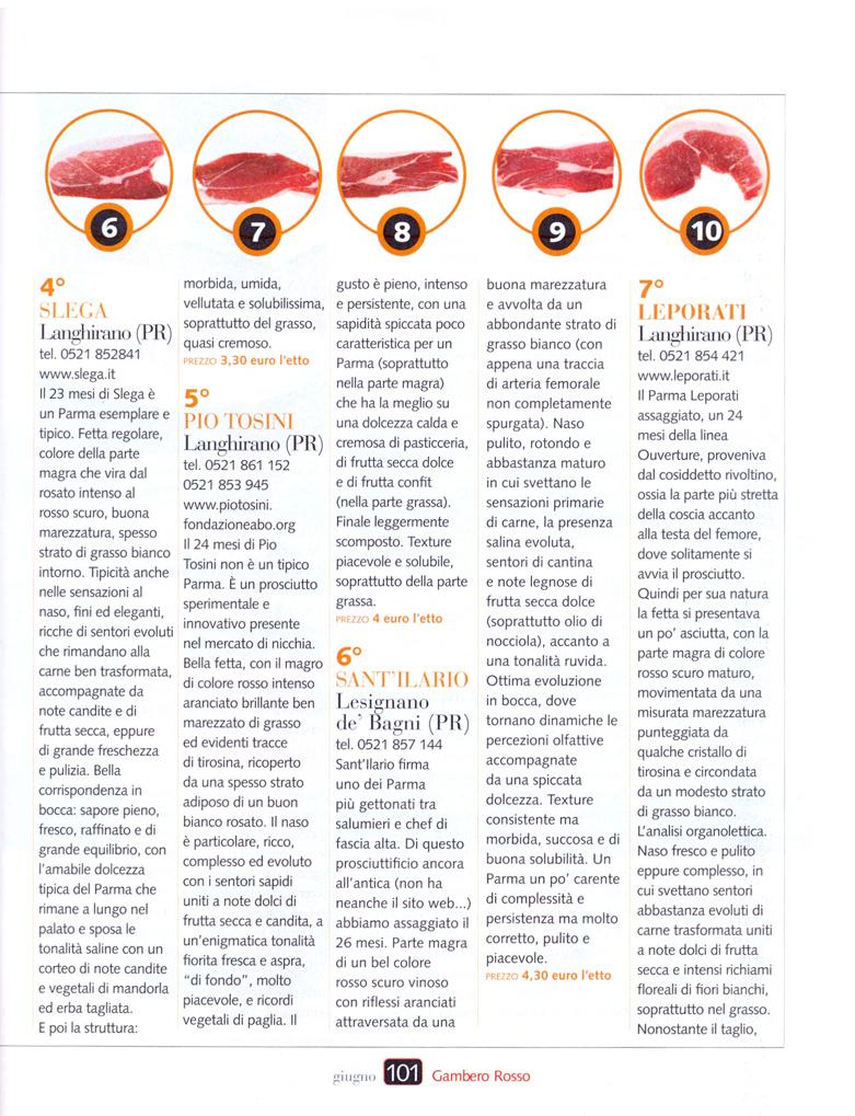Ghirardi Prosciutti Gambero Rosso June Issue - Carnival triumph itinerary